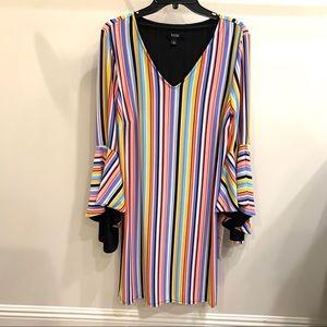 Striped MSK dress with fan sleeves
